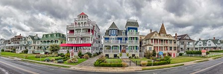 Cottages in a row, Beach Avenue, Cape May, New Jersey by Panoramic Images art print