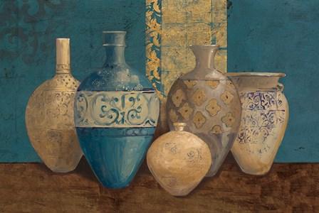 Aegean Vessels on Turquoise by Avery Tillmon art print