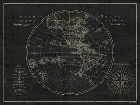Mappemonde Etching v2 by Wild Apple Portfolio art print
