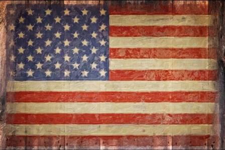 Vintage Flag on Barnwood by Graffi*tee Studios art print