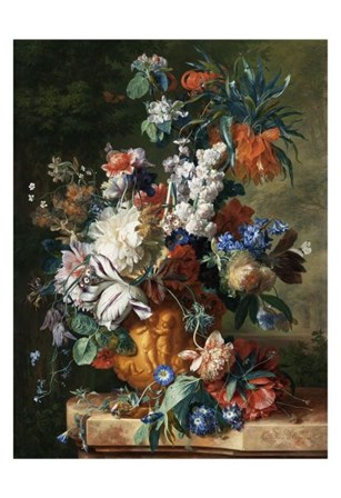 Jan van Huysum, Bouquet of Flowers in an Urn by Dutch Florals art print