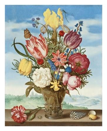 Ambrosius Bosschaert, Bouquet of Flowers on a Ledge by Dutch Florals art print