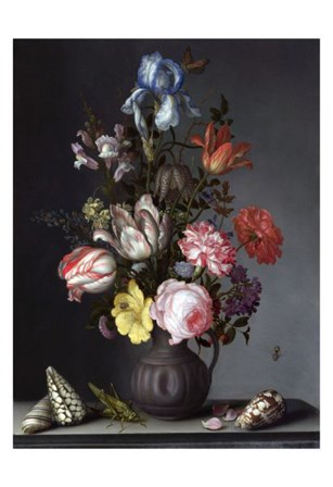 Balthasar van der Ast, Flowers in a Vase with Shells and Insects by Dutch Florals art print