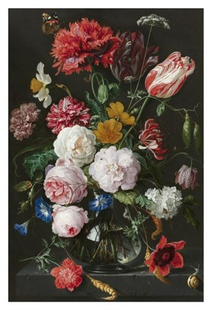 Abraham Mignon, Still Life with Flowers in a Glass Vase by Dutch Florals art print