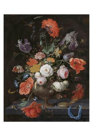 Abraham Mignon, Still Life with Flowers and a Watch by Dutch Florals art print