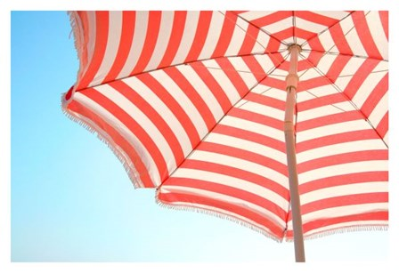 Beach Umbrella and Sky by Summer Photography art print
