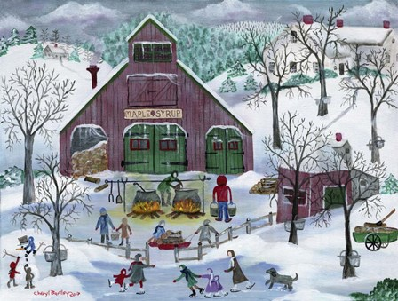 Snowy Maple Syrup Makers and Ice Skaters by Cheryl Bartley art print