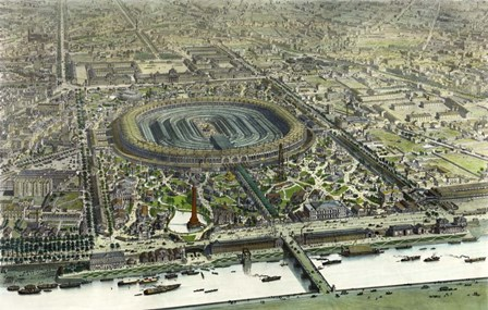 Birds Eye View Of The Universal Exposition In Paris 1867 by Vintage Lavoie art print