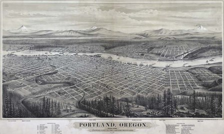 Map Of Portland Oregon 1879 by Vintage Lavoie art print