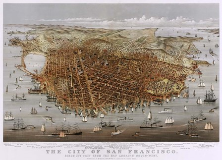 Map Of The City Of San Francisco 1878 by Vintage Lavoie art print