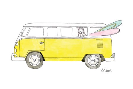 Yellow Van with Pink and Green Surfboards by Elise Engh art print