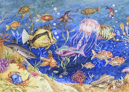 Underwater Menagerie by Charlsie Kelly art print