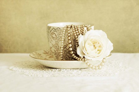 Antique Cup and Saucer with White Flower and Pearls by Tom Quartermaine art print
