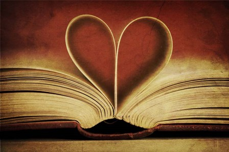Book Pages in Heart Shape by Tom Quartermaine art print