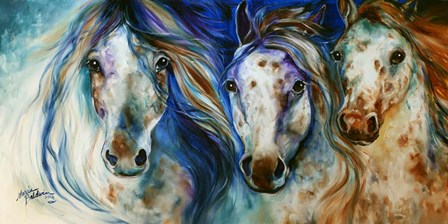 3 Wild Appaloosa Horses by Marcia Baldwin art print