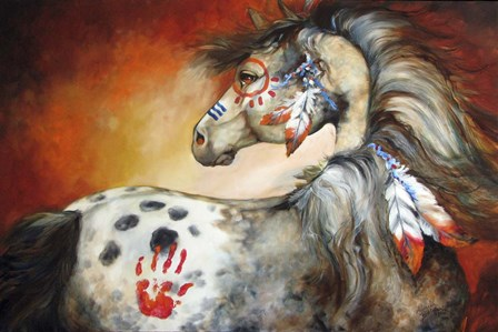 4 Feathers Indian War Pony by Marcia Baldwin art print