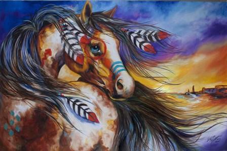 5 Feathers Indian War Horse by Marcia Baldwin art print