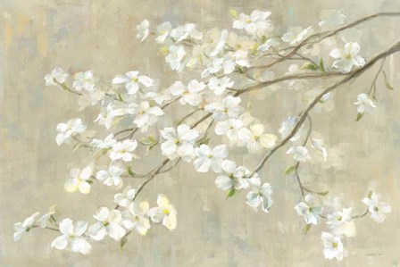 Dogwood in Spring Neutral Crop by Danhui Nai art print