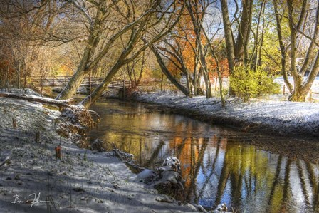 Bridge In The Snow by 5fishcreative art print