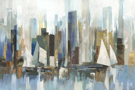 Boats by the Shoreline by Allison Pearce art print