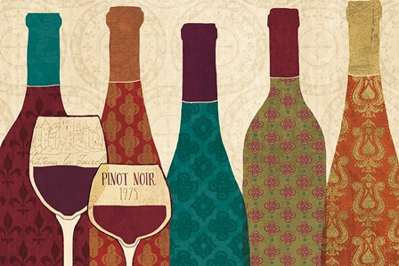 Wine Collage I with Glassware by Veronique Charron art print