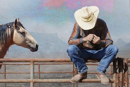 Cowboy On Fence by Chris Vest art print