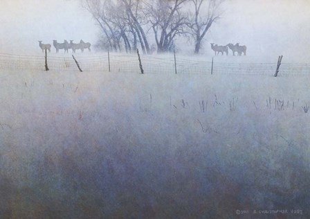 Fence Line Elk by Chris Vest art print