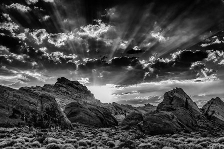 Valley Of Fire 3 Black & White by Duncan art print
