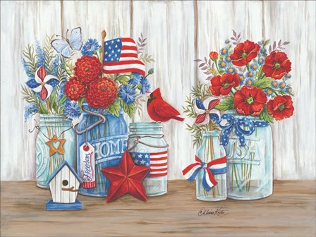 Patriotic Glass Jars with Flowers by Diane Kater art print