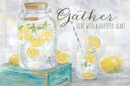 Gather Here Country Lemons Landscape by Cynthia Coulter art print
