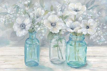 Vintage Jar Bouquet Landscape by Cynthia Coulter art print