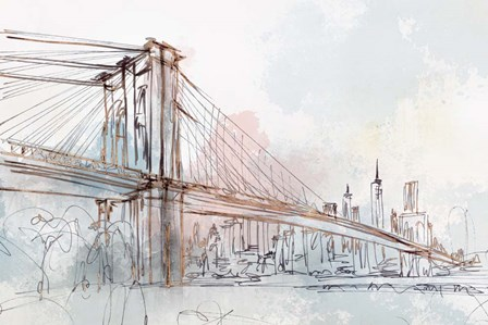 Blushing Brooklyn Bridge by Isabelle Z art print