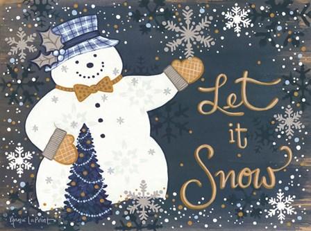 Snowy Christmas Snowman by Annie Lapoint art print