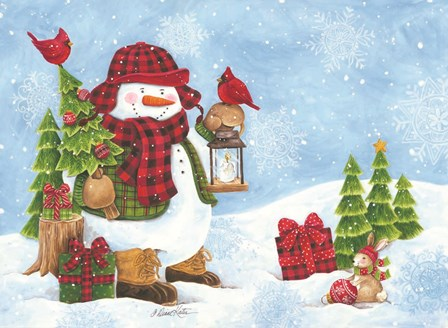 Lodge Snowman by Diane Kater art print