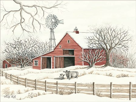 Winter Barn with Windmill by Cindy Jacobs art print