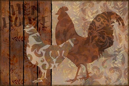 Farm Friends Chicken and Rooster by Cora Niele art print
