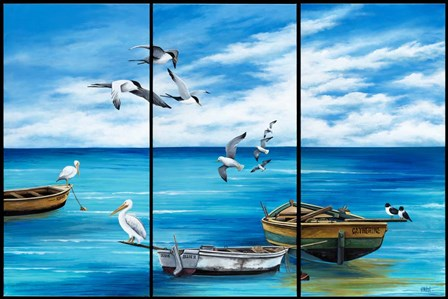 Fishing Boats and Birds by Debbi Wetzel art print