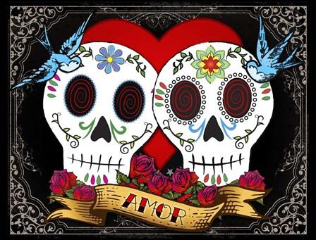 DOD-Love Skulls by Tammy Wetzel art print